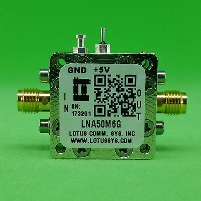 Broadband Low Noise Amplifier 0.65dB NF 50M ~ 6GHz 16.5dB Gain 22dBm P1dB SMA