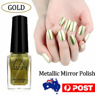 6ml Gold Nail Polish Metallic Mirror Effect Varnish Manicure Art Effect Chrome B