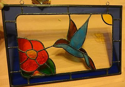 "Blue Hummingbird Feeding on a Red Flower 9"" X 14"" Hand Crafted Stained Glass"