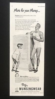 1949 Vintage Print Ad MUNSINGWEAR Men's Fashion Underwear