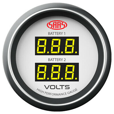 SAAS Digital Dual Volts Gauge Dual Reading 8>18volts Watercraft Boat White Face
