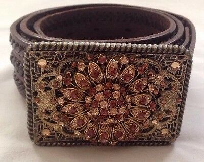 Womens Brown Leather Bling Belt Size 36 Made In Mexico