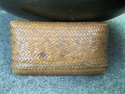 Japanese Antique Bamboo Hand Woven Purse or Wallet