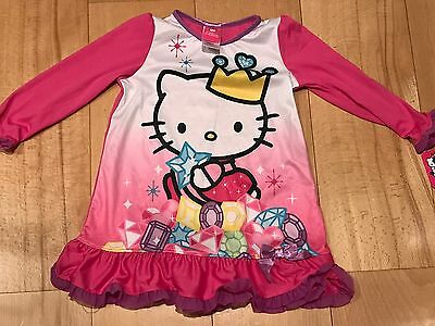New Cute Hello Kitty Princess Girls Pink Nightgown Pajamas Size 4