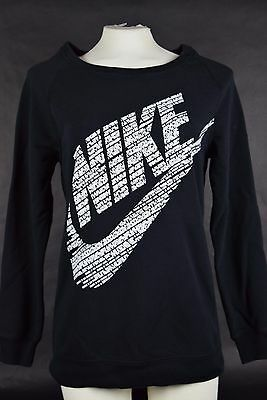NWT Wmns Nike Rally Crewneck Sweatshirt Black White S-XL 823705 010