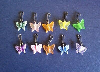 Set Of 10 Butterfly Beaded Knitting Crochet Stitch Markers Row Counters