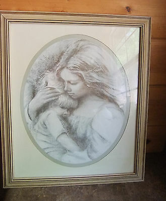 Home Interiors Mother and Child Picture Homco Interior Shabby Chic Vintage Frame