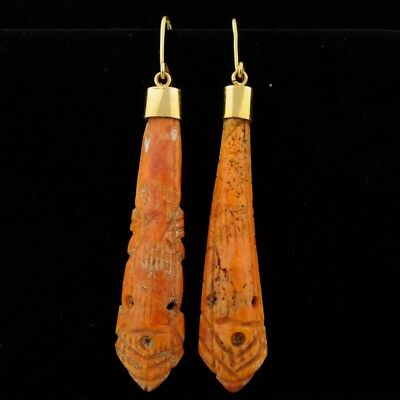 Antique Pre Columbian Beads Earrings 14K Gold Mount Carved Spondilus Colima