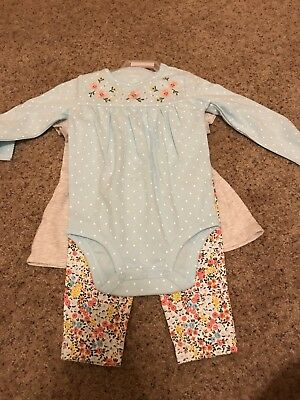 Baby Girls Carters 3 Piece Set Leggings Top New 18 Months