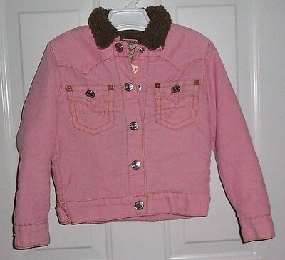 True Religion Pink Corduroy Jimmy Sherpa Jacket Girls Size M ( 8-10 )