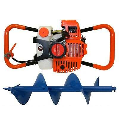 Post Hole Digger 62cc Petrol + 300mm Earth Auger Drill Bit Fence Borer Posthole