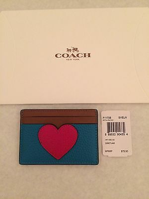 NWT COACH F11726 True Red Heart Flat Card Case Holder Pebbled Leather $75