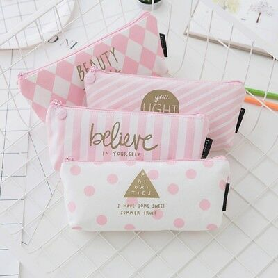 Pencil Case for Girls Canvas School Supplies Stationery Gift Cute Pencilcase Bag