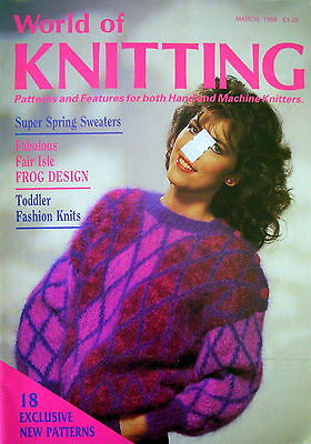 WORLD OF KNITTING - 18 Patterns for Hand & Machine Knitters March 1988 - VGC