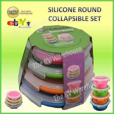 4 Collapsible Round Silicone Storage Space Saving Containers Caravan Camping Boa