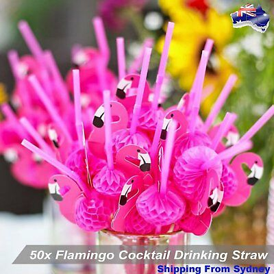 50Pcs Hot Pink Flamingo Straws Cocktails Drink Hawaiian Wedding Party Tableware