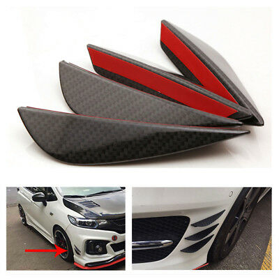 4X Car Auto C Style Front Bumper Real Carbon Fiber Fins Lip Kit Canards Splitter