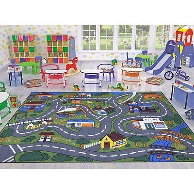 City Map Children Play Mat Kids Bed Room Area Rug Educational Preschool Day Care