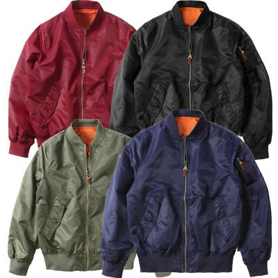 Men's Air Jacket Zipper MA1 Army Flight Bomber Jacket Coat 4 Colors 6 Sizes
