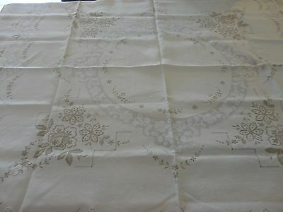 Vintage retro  tablecloth embroided with embroided edge