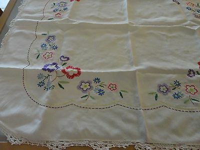 Vintage retro supper  tablecloth hand embroided with crochet edge