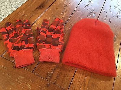 Boy's One Size Orange Thermosoft Insulation Hunting Winter Hat & Camo Gloves