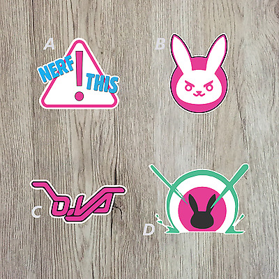 Overwatch D.va Art Stickers Nerf This Bunny decals PC case console stickers mob
