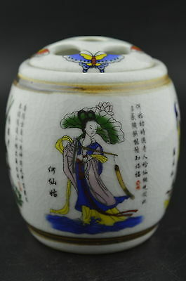 China Decorated Porcelain Drawing Butterfly & 4 Immortal Rare Lucky Storage Pot