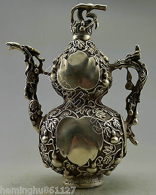 Collectible Old Handwork Silver Plate Copper Carved Gourd Tea Pot Snuff Bottle