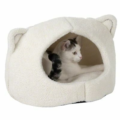 Cat Bed Den White Privacy Hideaway Kitten Features Ears Soft Washable Cushion