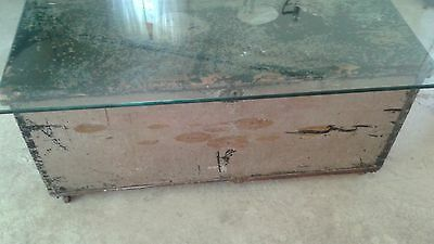 Distressed Antique Chest Trunk Glass Top Coffee Table