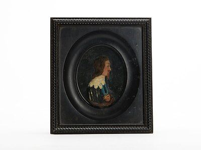 Antique Framed Charles I Coloured Wax Profile 18/19Th C.