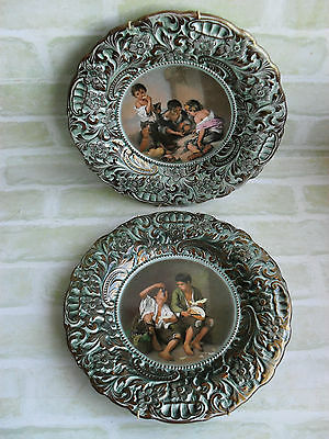 2 x Original Vintage- Kids Eating Fruit - Plates With Gold Trimming - Portugal