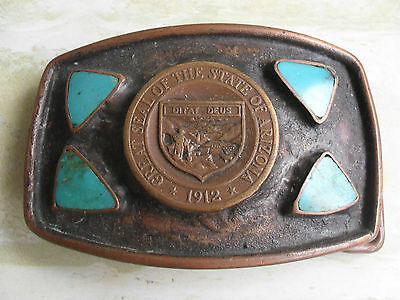 Great Seal Of The State Of Arizona 1912 - Ditat Deus - Rare Belt Buckle