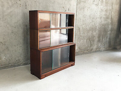 1960's Minty library specialists of Oxford 3 tier book case with  glass doors