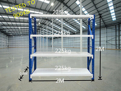 900kgs 2m x 2m x 0.6m Heavy Duty Garage Racking Warehouse Shelving