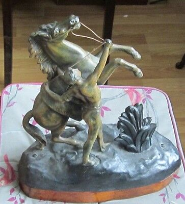 19th Century painted Spelter Marley Horse Figure