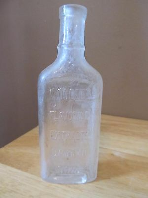 """Antique Souders Flavoring Extracts Dayton Ohio Glass Bottle~5 1/2"""" Tall~VG Cond."""