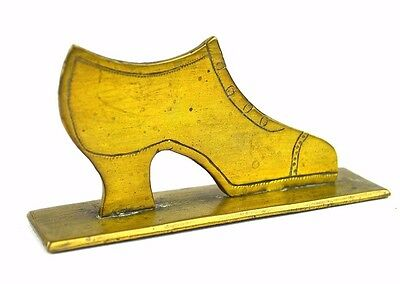 Antique Brass Shoe Display Art Deco High Heel Victorian Pump Shoe Store Figurine