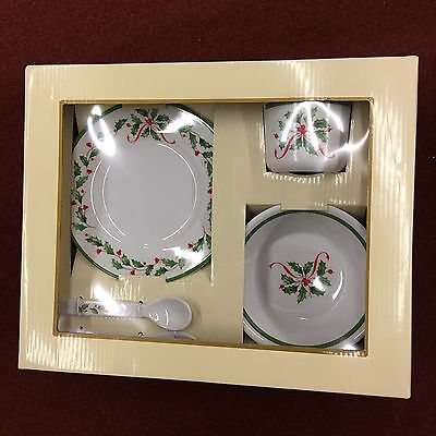 Lenox Holiday 5 Piece Children's Melamine Set #821673 Plate Cup Fork Spoon Bowl
