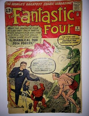Fantastic Four #6 (1961) 2nd Appearance Doctor Doom Marvel Comics Poor Condition