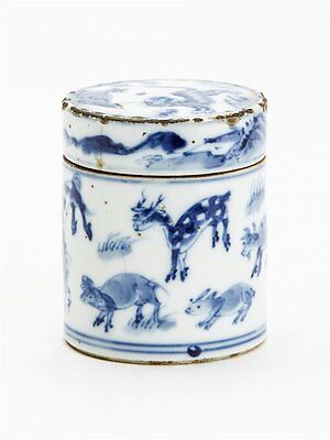Antique Chinese Blue & White Jar With Animals  19 C