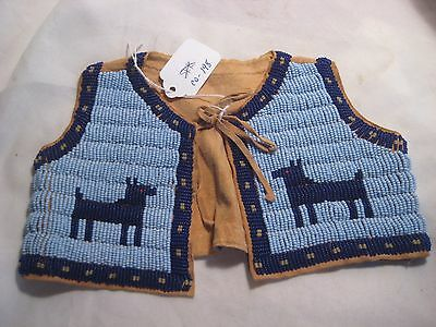 Native American Beaded Childs Leather Vest, Blue W/ Horse Totem Design #co-198