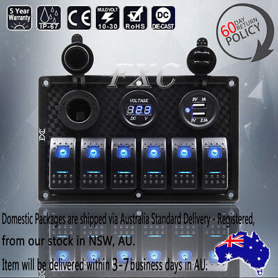 6 Gang Waterproof Circuit LED Rocker Marine Switch Panel Breaker - Boat/Car/SUV