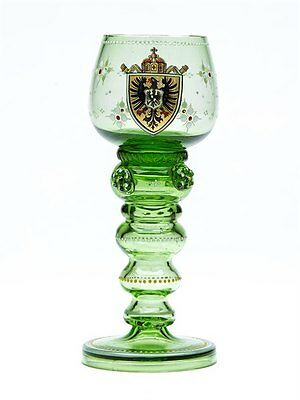 ANTIQUE BOHEMIAN CRESTED GREEN HOCK GLASS c.1900