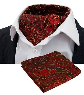 Silk Red/ Yellow Floral Wedding Prom Men Cravat Ascot Tie Set with Pocket Square
