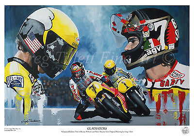 BARRY SHEENE and KENNY ROBERTS limited edition print by Greg Tillett MotoGP