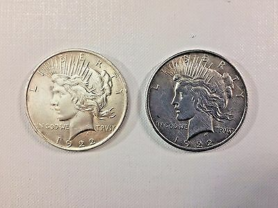2 Peace Silver Dollars Coins 1922-P and 1922-P Lot #802