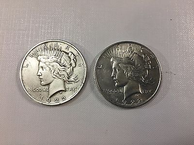 2 Peace Silver Dollar Coins 1922-P and 1922-P Lot #801