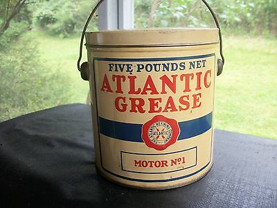 EARLY ATLANTIC GAS-OIL 5# No 1 GREASE CAN-BUCKET-FRIED EGG LOGO-SUPER NICE